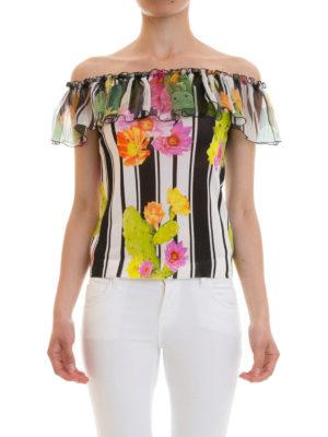 Blugirl: Tops & Tank tops online - Stripe and cactus print flounce top