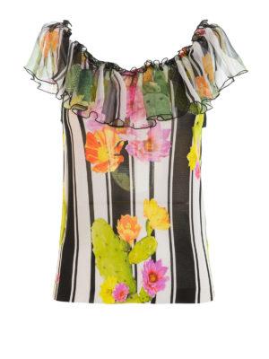 Blugirl: Tops & Tank tops - Stripe and cactus print flounce top