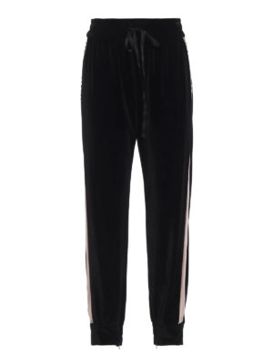 BLUGIRL: pantaloni sport - Pantaloni in velluto bicolore con strass