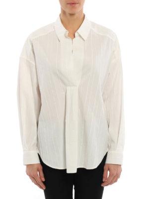 Blumarine: blouses online - Pintuck cotton blend blouse