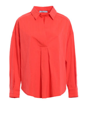 Blumarine: blouses - Pintuck cotton blend blouse