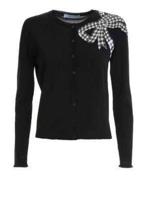 Blumarine: cardigans - Bow detailed viscose cardigan