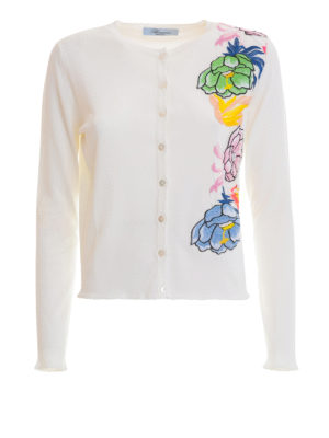 Blumarine: cardigans - Cardigan with floral patches
