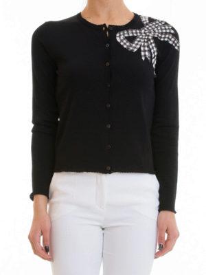 Blumarine: cardigans online - Bow detailed viscose cardigan