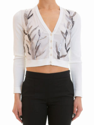 Blumarine: cardigans online - Short silk cardigan