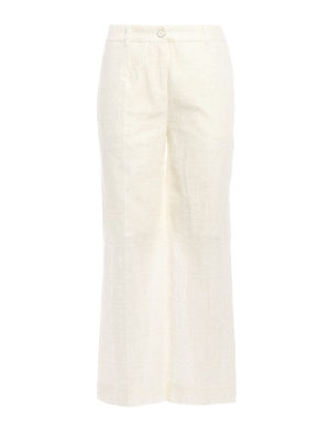Blumarine: casual trousers - Broderie anglaise wide leg trousers