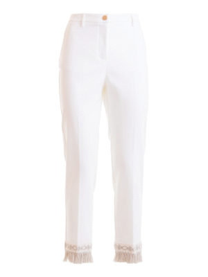 BLUMARINE: casual trousers - Fringed bottom trousers