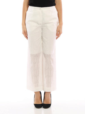 Blumarine: casual trousers online - Broderie anglaise wide leg trousers