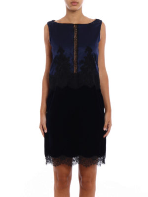 Blumarine: evening dresses online - Silk and velvet romantic dress