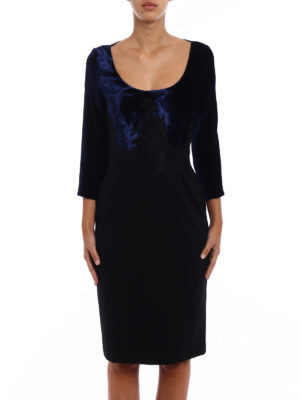Blumarine: evening dresses online - Two tone velvet bodice sheath dress