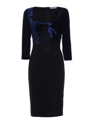 Blumarine: evening dresses - Two tone velvet bodice sheath dress