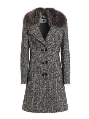 Blumarine: knee length coats - Fur collar detail herringbone coat