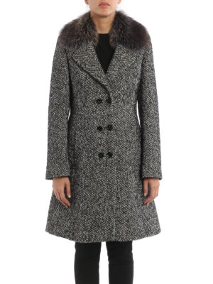 Blumarine: knee length coats online - Fur collar detail herringbone coat