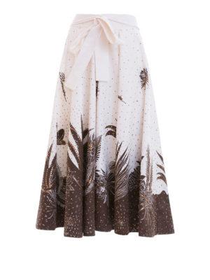 Blumarine: Knee length skirts & Midi - Batik print cotton full skirt