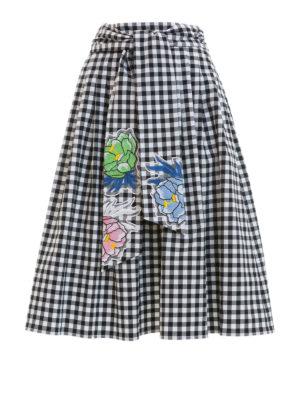 Blumarine: Knee length skirts & Midi - Embroidered gingham cotton skirt