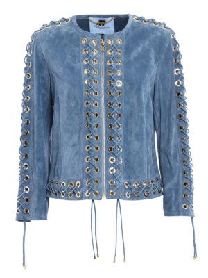 Blumarine: leather jacket - Lace-up nubuck leather jacket