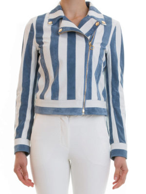 Blumarine: leather jacket online - Striped leather and suede jacket