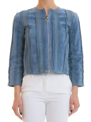 Blumarine: leather jacket online - Suede jacket with lace inserts