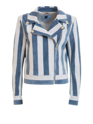 Blumarine: leather jacket - Striped leather and suede jacket