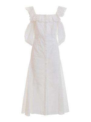 Blumarine: maxi dresses - Broderie anglaise flared dress
