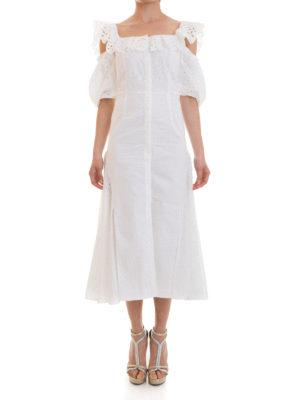 Blumarine: maxi dresses online - Broderie anglaise flared dress