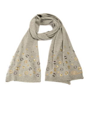 Blumarine: scarves - Metal eyelets detailed wool scarf