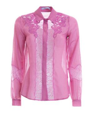 Blumarine: shirts - Lace inserts cotton and silk shirt