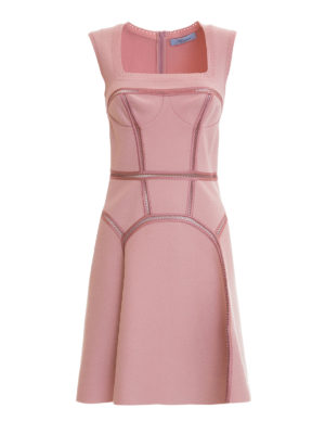 Blumarine: short dresses - Crochet detailed flared knit dress