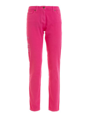 Blumarine: skinny jeans - Floral embroidered jeans