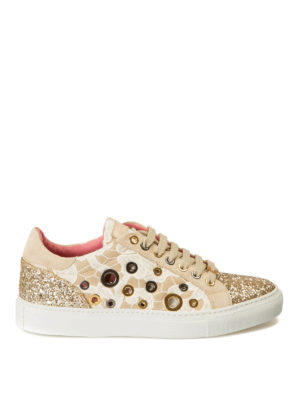 Blumarine: trainers - Macramé and glitter sneakers