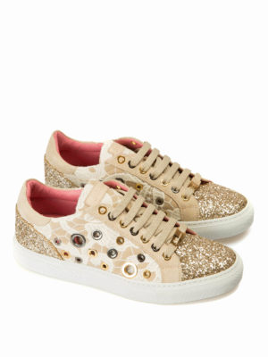 Blumarine: trainers online - Macramé and glitter sneakers