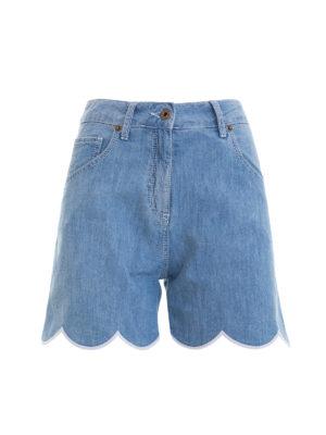 Blumarine: Trousers Shorts - High waisted scalloped denim shorts