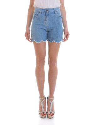 Blumarine: Trousers Shorts online - High waisted scalloped denim shorts