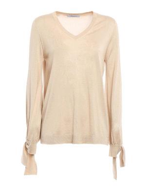 Blumarine: v necks - Bow cuff detailed silk sweater