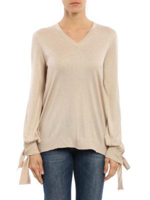 Blumarine: v necks online - Bow cuff detailed silk sweater