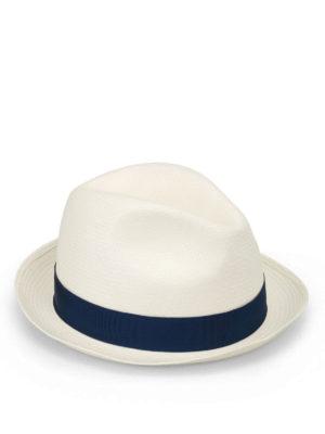 Borsalino: hats & caps - Blue trimmed panama hat
