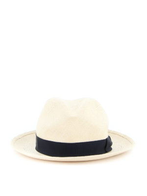 BORSALINO: hats & caps - Dark blue grosgrain band straw hat