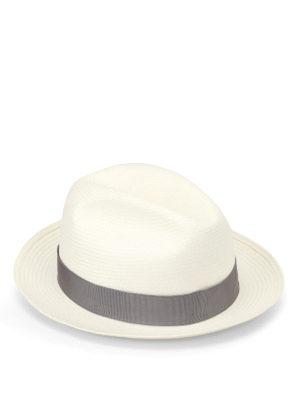 Borsalino: hats & caps - Grey trimmed panama hat