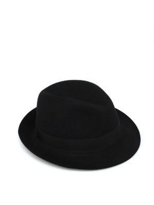 BORSALINO: cappelli - Cappello in feltro nero con nastro gros grain