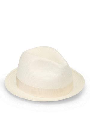 Borsalino: hats & caps - Ivory trimmed panama hat