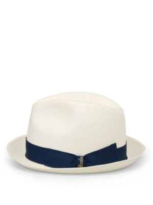 Borsalino: hats & caps online - Blue trimmed panama hat