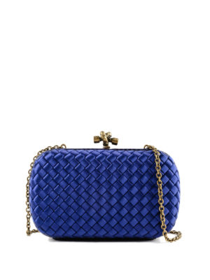 BOTTEGA VENETA: pochette - Clutch Chain knot in raso intrecciato blu