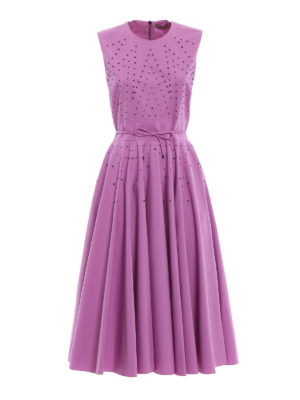 Bottega Veneta: cocktail dresses - Studded cotton flared dress