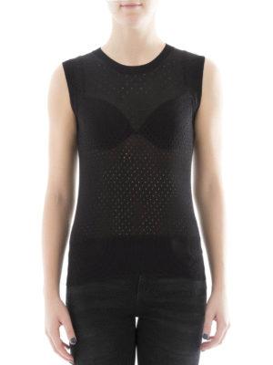 Bottega Veneta: crew necks online - See-through black silk top