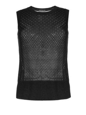 Bottega Veneta: crew necks - See-through black silk top