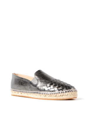 Bottega Veneta: espadrilles online - Gala metallic leather espadrilles