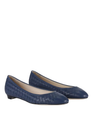 Bottega Veneta: flat shoes online - Woven napa leather flat shoes