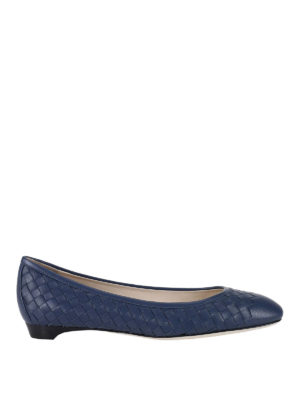 Bottega Veneta: flat shoes - Woven napa leather flat shoes