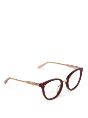 BOTTEGA VENETA: Occhiali - Occhiali da vista a occhi di gatto bordeaux