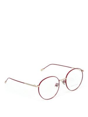BOTTEGA VENETA: Occhiali - Occhiali da vista tondi in metallo bordeaux